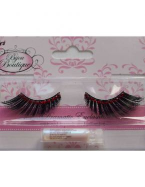 Ladies Fancy Dress 20s 70s 80s False Eyelashes - Red Crystals