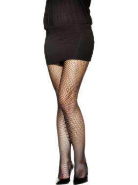Ladies Fancy Dress 80s Fishnet Plus Size Tights - Black