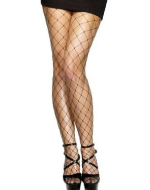 Ladies Fancy Dress 80s Fishnet Diamond Tights - Black