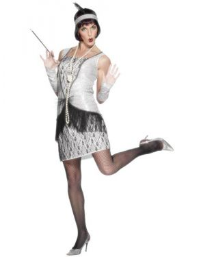 Ladies Deluxe 20s Flapper Dress Costume - Silver