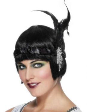 20s Flapper Fancy Dress Headband - Black