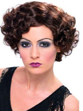 Ladies 20s Flirty Flapper Fancy Dress Wig - Brown