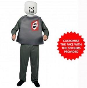 Mr Block Head Zombie Costume - One Size
