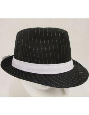 Gangster Fancy Dress - Twill Fabric Trilby Hat - Black/White