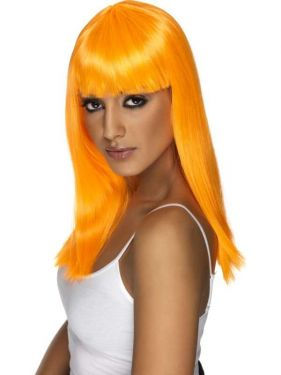 80's Glamourama Wig with Fringe Neon Orange