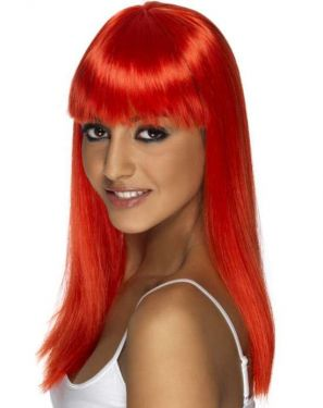 80's Glamourama Wig with Fringe in Neon Red