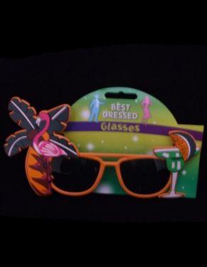 Hawaiian Fancy Dress Sunglasses - Orange