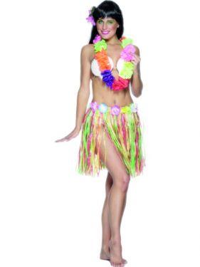 Hawaiian Grass Hula Skirt Fancy Dress - Multi Coloured