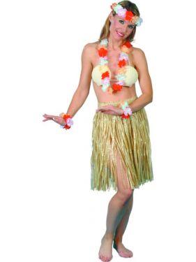 Hawaiian Grass Hula Skirt Fancy Dress - Natural Colour