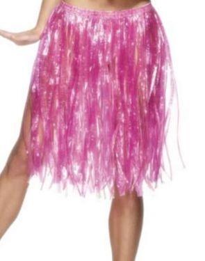 Hawaiian Grass Skirt Fancy Dress - Pink
