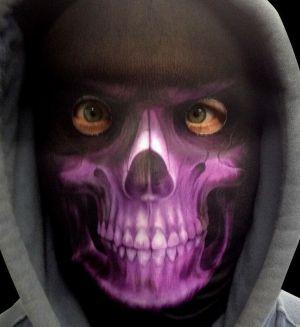 Halloween Faceskinz Stretch Fabric Mask - Reaper Purple