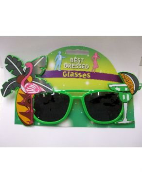 Hawaiian Fancy Dress Sunglasses - Green