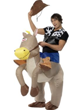1 Inflatable Horse Costume with mock Jockey Legs