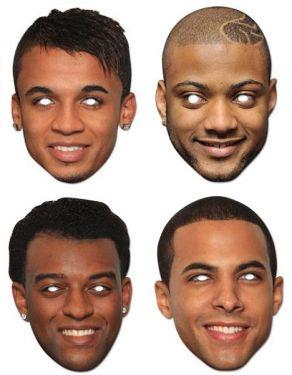 Celebrity Fancy Dress Masks - JLS Card Masks All 4 Members