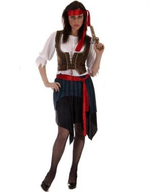A woman in a Caribbean pirate outfit