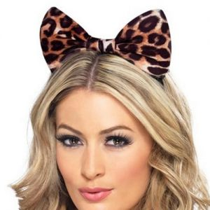 Adult Cheetah Print Bow Ears on Alice Band