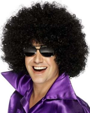 70s Fancy Dress - Unisex Mega Huge Afro Wig - Black