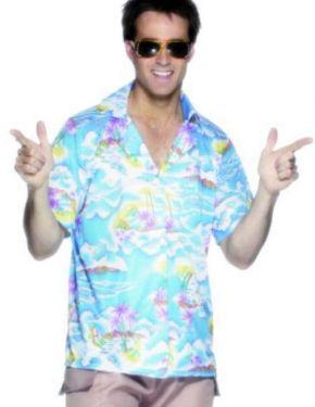 Mens Hawaiian Fancy Dress Shirt - Blue - M & L