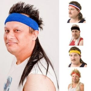 Mullets on the Go Fancy Dress Headband with Hair