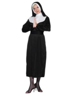 Ladies Nun Fancy Dress Costume