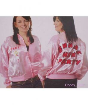 Ladies Fancy Dress 50s Self Personalise Pink Jacket S/M (8-12)