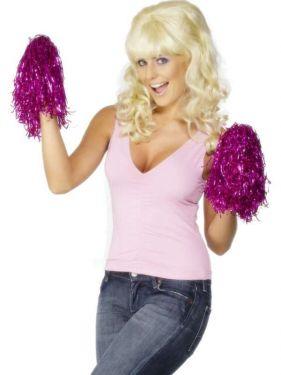 Fancy Dress Cheerleader Style Pom Poms - Metallic Pink