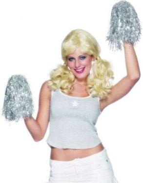 Fancy Dress Cheerleader Style Pom Poms - Metallic Silver