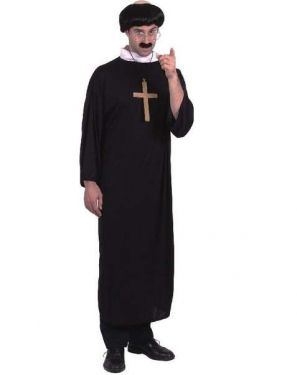 Mens Fancy Dress Priest Costume