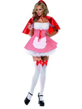 Ladies Sexy Fever Little Red Riding Hood Costume - S, M & L