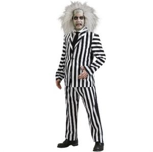 1980s Mens Deluxe Beetlejuice Fancy Dress Costume