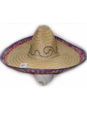 Fancy Dress Hat Mexican Sombrero - Natural/Blue/Purple