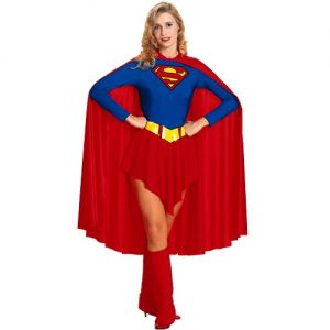New Supergirl Fancy Dress Costume with Cape - S, M or L