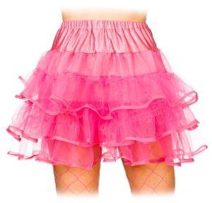Ladies 80s Ruffle Tutu - Neon Pink