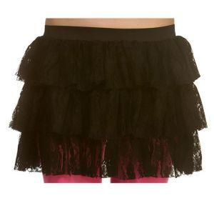 Ladies 80s Lacy Ra Ra Skirt - Black
