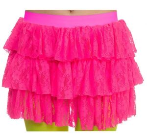 Ladies 80s Lacy Ra Ra Skirt - Hot Pink