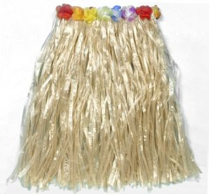 Hawaiian Fancy Dress Hula Skirt - 60cm Natural with Floral Waist