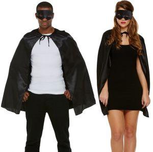 Mens Superhero Cape & Mask Kit - Black