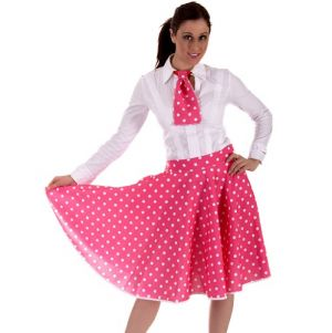 Ladies 50s Polka Dot Skirt & Necktie Set