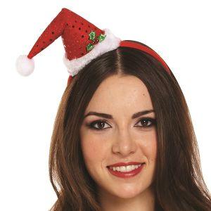Mini Santa Hat with Holly on Headband
