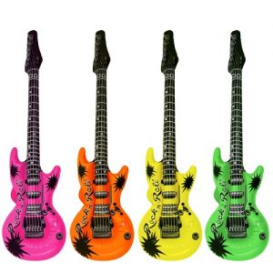 Pack of 6 Inflatable Coloured Guitar Large