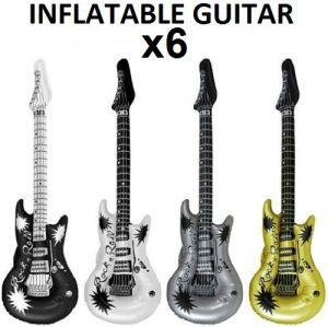 Pack of 6 Inflatable Rock Guitar - Metallic