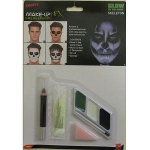 Smiffys Glow in the Dark Fancy Dress Skeleton Face Paint Kit